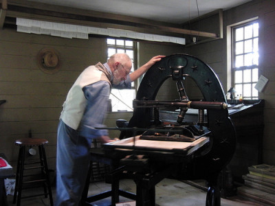 A printing press demonstration